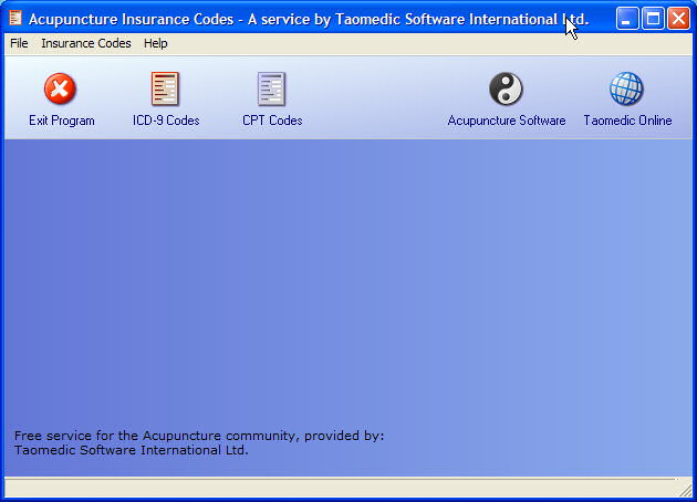 Acupuncture Insurance Codes main screen